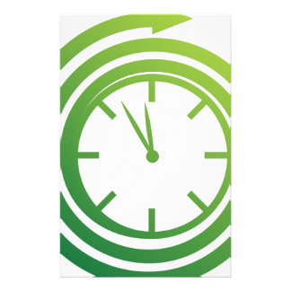 Green Spiral Arrow Spinning Clock Icon Stationery