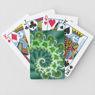 Green Spiral Fractal Bicycle Playing Cards