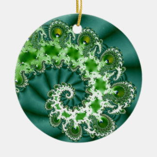 Green Spiral Fractal Ceramic Ornament