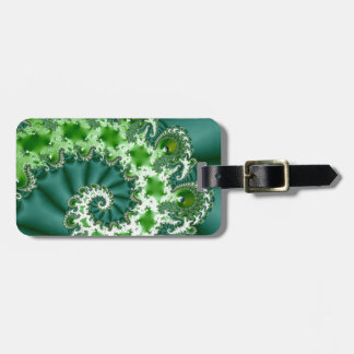 Green Spiral Fractal Luggage Tag