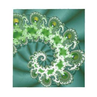 Green Spiral Fractal Notepad