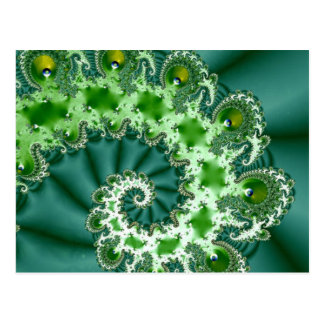 Green Spiral Fractal Postcard