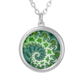 Green Spiral Fractal Silver Plated Necklace