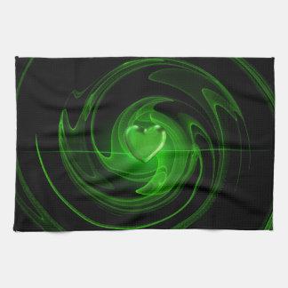 Green spiral heart kitchen towels