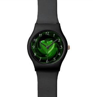 Green spiral heart wrist watch