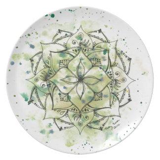 Green Splatter Mandala Plate