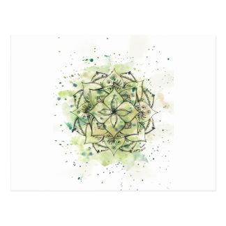 Green Splatter Mandala Postcard