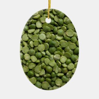 Green split peas ceramic oval decoration
