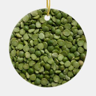 Green split peas round ceramic decoration