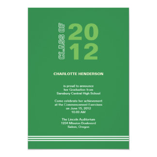 "Green sport stripe graduation class invitation 5"" x 7"" invitation card"