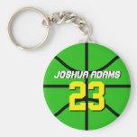 Green Sports Team Athletes Basketball Keychain
