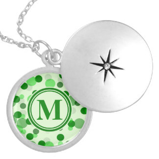 Green Spots Monogram Round Locket Necklace