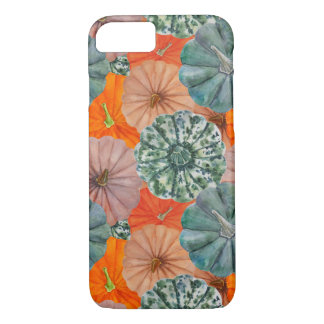 Green, spotted, orange and pink watercolor pumpkin iPhone 8/7 case