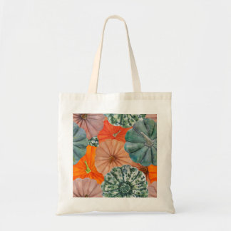 Green, spotted, orange and pink watercolor pumpkin tote bag