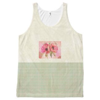 Green-Spring-Floral-Casual--Women's-Tank-Top All-Over Print Singlet