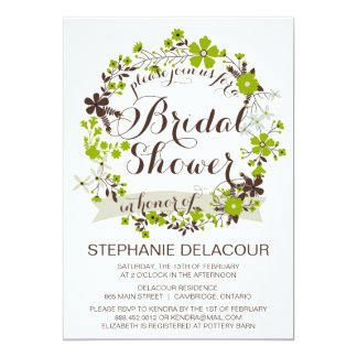 Green Spring Wreath Bridal Shower Invitations