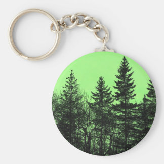 Green Spruce Basic Round Button Key Ring