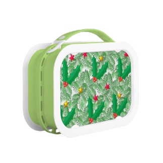 Green Spruce Golden Stars Red Holly Lunch Box
