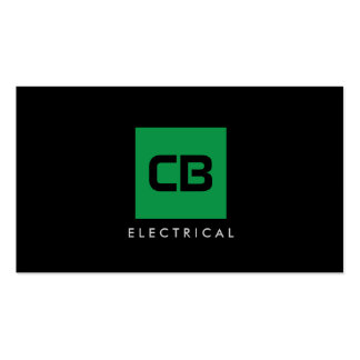 Green Square Monogram Construction, Electrical Pack Of Standard Business Cards