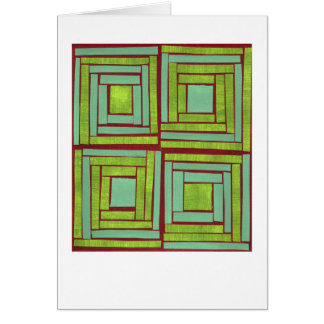 Green squares design note card