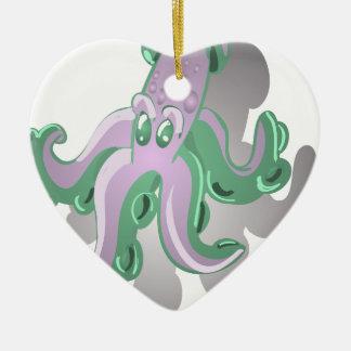 Green Squid Ceramic Ornament