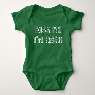 Green St. Patrick Kiss Me Im Irish Baby Bodysuits
