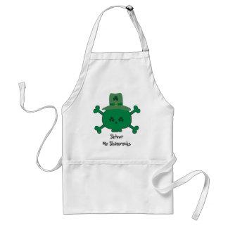 Green St. Patrick Pirate Skull Shiver Me Shamrocks Adult Apron