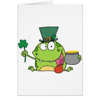 Green St Patricks Day Leprechaun Frog Card