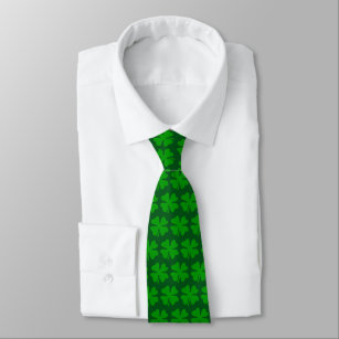 fe2d74add31b Green St Patricks Day party tie with lucky clovers