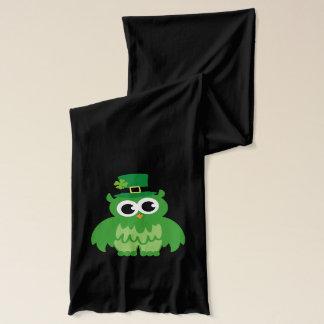 Green St Patricks Day scarf   Funny owl leprechaun
