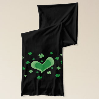 Green St Patricks Day scarf with lucky clovers
