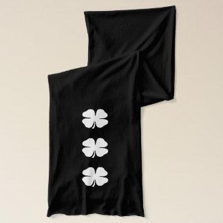 Green St Patricks Day scarf with lucky shamrocks