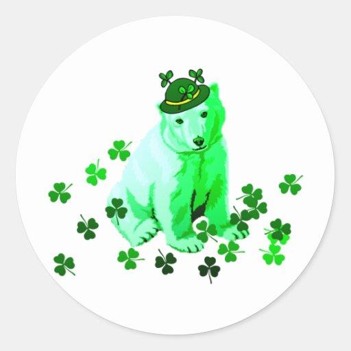 Green St. Patrick's Polar Bear Sticker