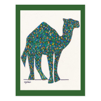 Green Stained Glass Camel Post Card