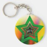 GREEN STAR  BFF BASIC ROUND BUTTON KEY RING