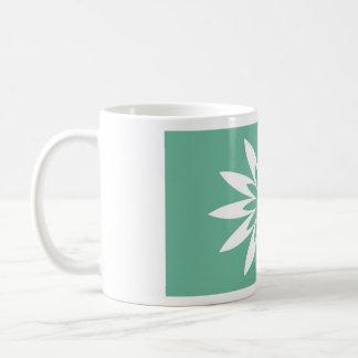 Green Star Flower Basic White Mug
