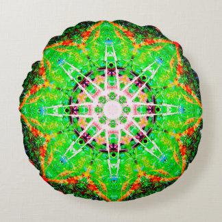 Green Star Mandala Round Cushion