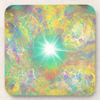Green Star Yellow Abstract Art Painting Design Coaster