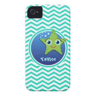 Green Starfish Aqua Green Chevron iPhone 4 Cover