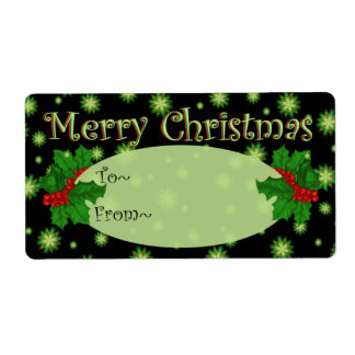 Green Stars and Holly Christmas Gift Tags - Addres Shipping Label