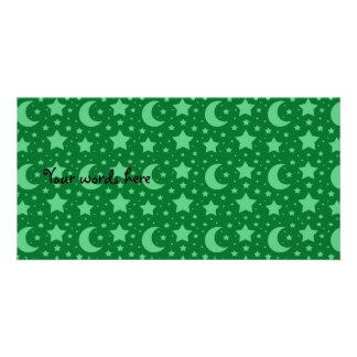 green stars and moon patterns photo greeting card