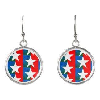 Green Stars and Stripes Earrings