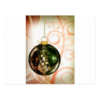 Green Stars Hanging Christmas Ornament Swirls Post Card