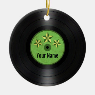 Green Stars Personalised Vinyl Record Album Ceramic Ornament