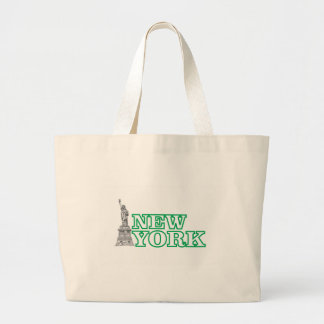 green statue of liberty art large tote bag