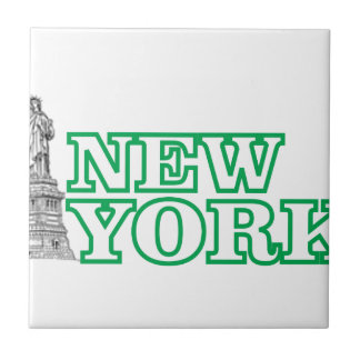 green statue of liberty art tile