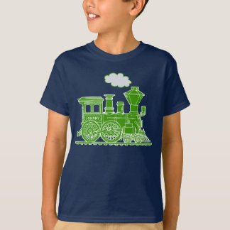 Green steam loco train custom name kids t-shirt