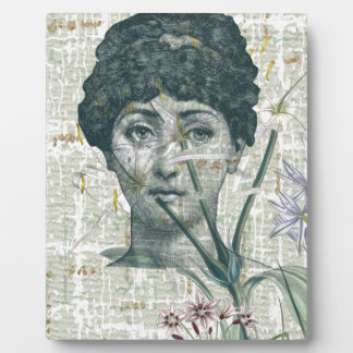 Green Steampunk Woman Floral Victorian Photo Plaque