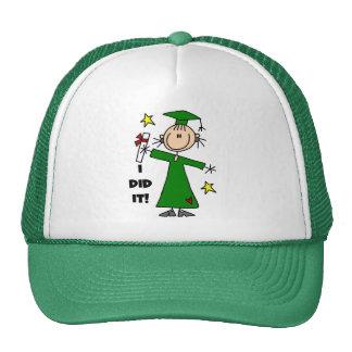 Green Stick Figure Girl Graduate Trucker Hat