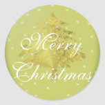 Green Sticker Gold Christmas Tree with Stars